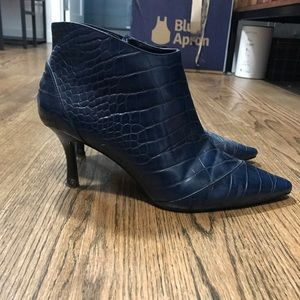 Crocodile Embossed Leather Boots